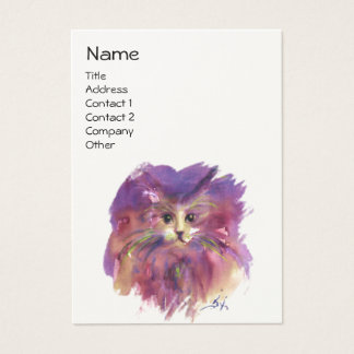 PURPLE KITTEN, KITTY CAT PORTRAIT ,White Cream Business Card