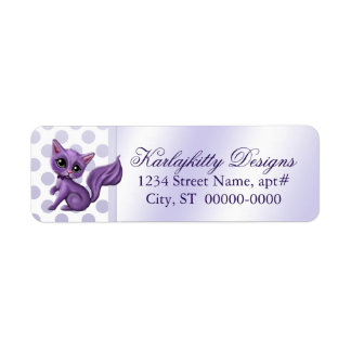 Purple Kitten on Polka Dots Return Labels