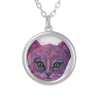 PUrple Kitten Silver Plated Necklace