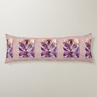 Purple Kitty Cat Has a Flavor Photo Body Pillow