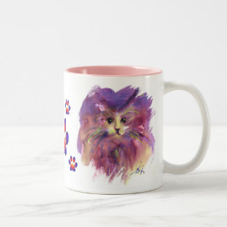 PURPLE KITTY CAT PORTRAIT WITH COLORFUL PAWS Two-Tone COFFEE MUG