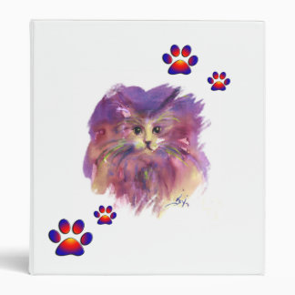 PURPLE KITTY CAT PORTRAIT WITH COLORFUL PAWS,White Binder