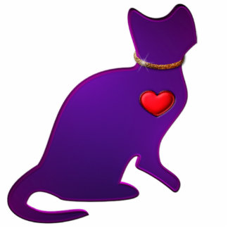 Purple Kitty Cat Statuette