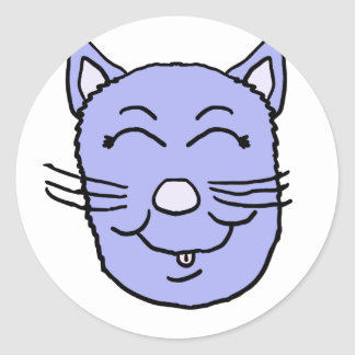 Purple Kitty Face Classic Round Sticker