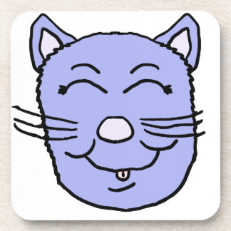 Purple Kitty Face Drink Coaster