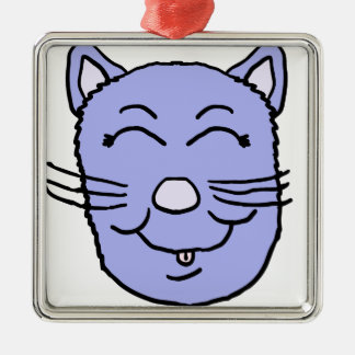 Purple Kitty Face Metal Ornament