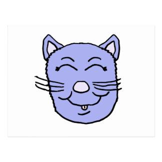 Purple Kitty Face Postcard