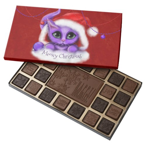 Purple Kitty Meowy Christmas on Red Assorted Chocolates