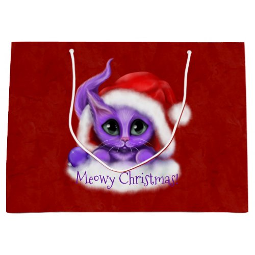 Purple Kitty Meowy Christmas on Red Large Gift Bag