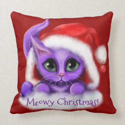 Purple Kitty Meowy Christmas on Red Throw Pillow