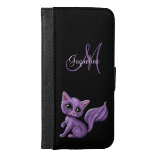 Purple Kitty Monogram iPhone 6/6s Plus Wallet Case