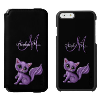 Purple Kitty Monogram iPhone 6/6s Wallet Case