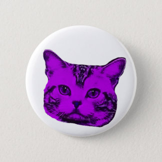 purple kitty pinback button