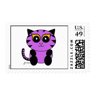 Purple Kitty Postage Stamp
