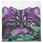 Purple Kitty Printed Napkin