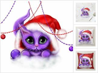Purple Kitty Santa