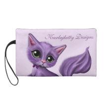 Purple Kitty Satin Wristlet