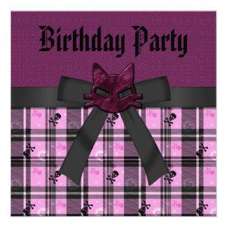 Purple Kitty Skulls Black Pink Plaid Birthday Custom Invite
