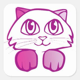 Purple Kitty Square Sticker