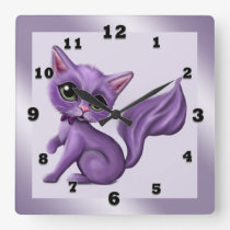 Purple Kitty Square Wall Clock