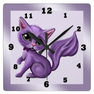 Purple Kitty Square Wall Clock