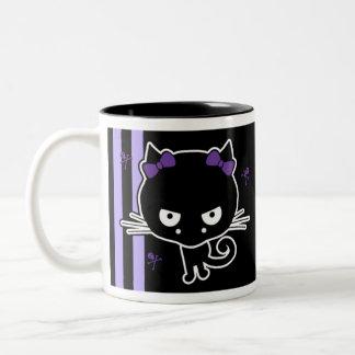 Purple Kitty Two-Tone Coffee Mug