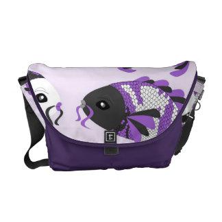 Purple Koi Fish Print Messenger Bag