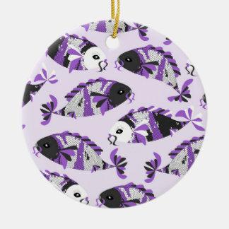 Purple Koi Fish Print Ornament