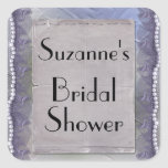 Purple Lace and Pearls Bridal Shower Square Sticker