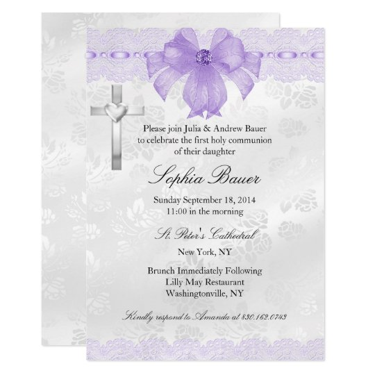 Purple Lace Bow First Holy Communion Invitation Zazzle Com