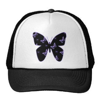 Purple Lace Butterflies Mesh Hats