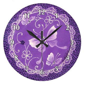 Purple Lace Butterflies Large Clock