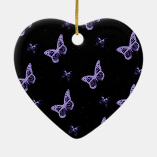 Purple Lace Butterflies Christmas Ornament