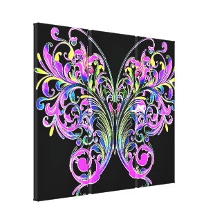 Purple lace butterfly 3 panel canvas print