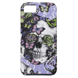 Purple lace butterfly skull iPhone 5 cover