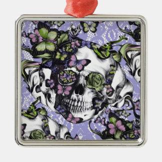 Purple lace butterfly skull metal ornament