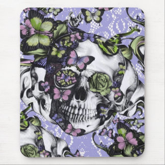 Purple lace butterfly skull mouse pad