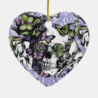Purple lace butterfly skull christmas ornaments