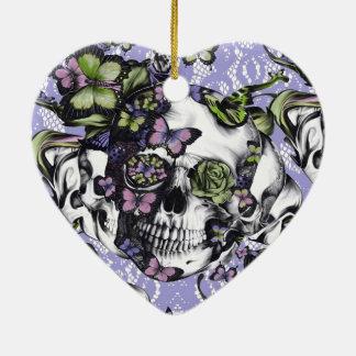 Purple lace butterfly skull ornament