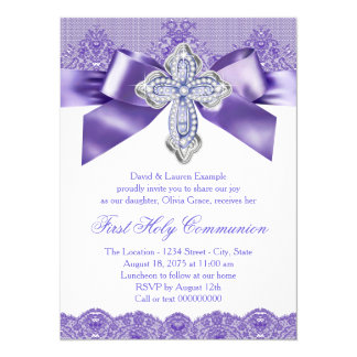 Purple Lace Cross First Holy Communion Card