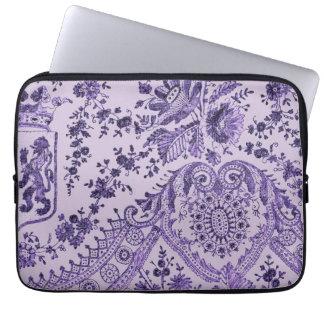 Purple Lace Flowers Laptop Sleeve