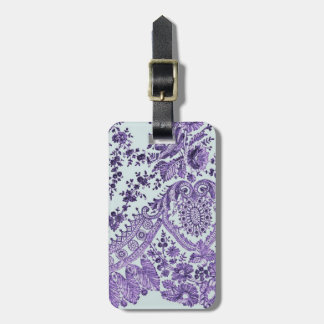 Purple Lace Flowers Luggage Tag