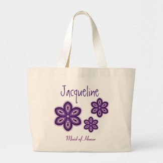 Purple Lace Flowers Personalized Maid of Honor Large Tote Bag