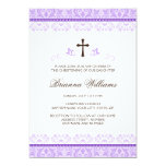 Purple lace girls baptism or christening 5x7 paper invitation card