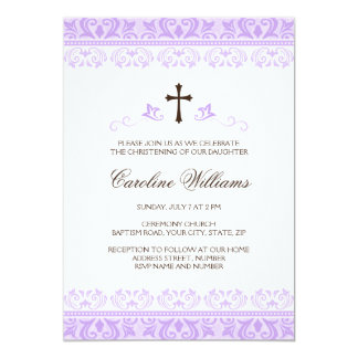 Purple lace girls baptism or christening card