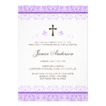 Purple lace girls first communion confirmation invites