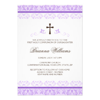 Purple lace girls first communion confirmation personalized announcement