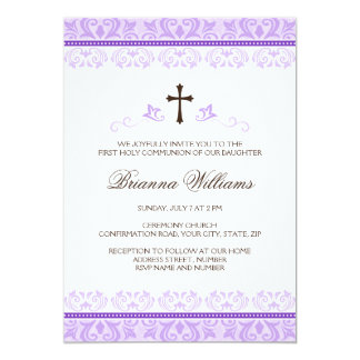 Purple lace girls first communion confirmation 5x7 paper invitation card