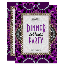 Purple Lace Glamour Dinner Drinks Party Invitation