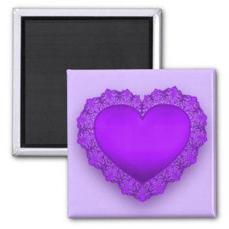 Purple Lace Heart Magnet